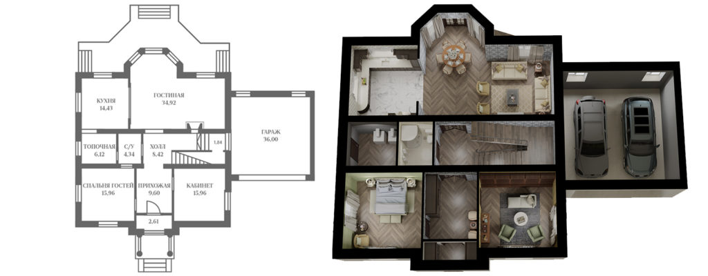 """Планировка дома """"Диана"""" - первый этаж"""