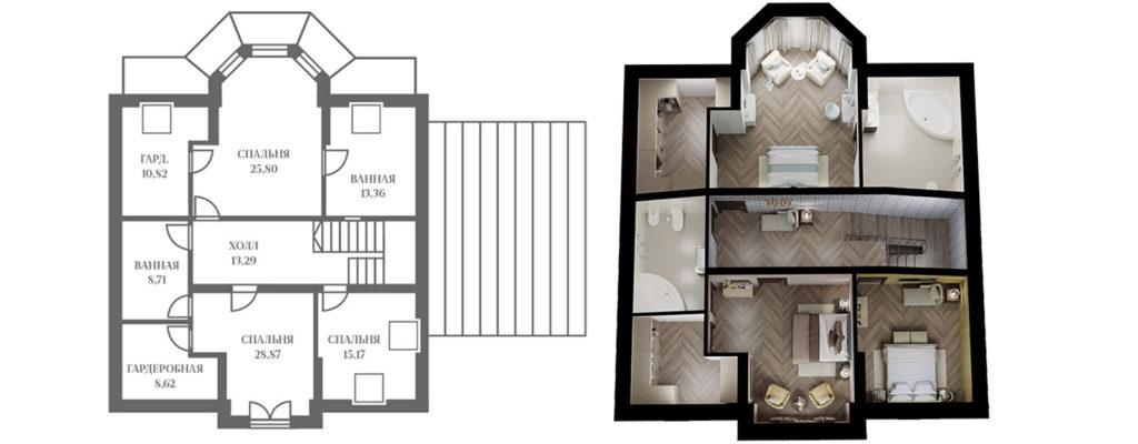 """Планировка дома """"Диана"""" - 2 этаж"""